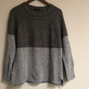 Brown Color Block Grey Brown Crew Neck Sweater M
